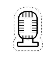 Microphone music sound cut line vector