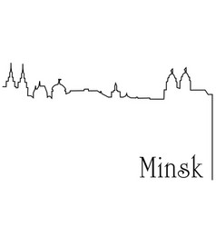 Minsk city one line drawing background vector