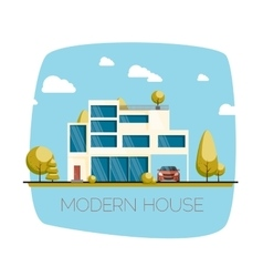 Modern house flat design vector