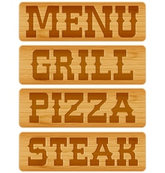 Nameplate of wood with words Menu Grill Steak vector image