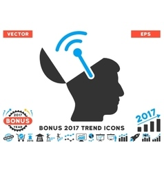 Open Brain Radio Interface Flat Icon With 2017 vector image vector image