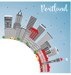 portland skyline with gray buildings blue sky and vector image vector image