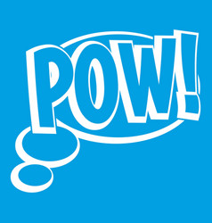 Pow speech bubble icon white vector