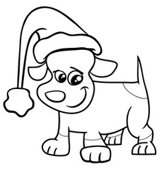 Puppy on christmas coloring page vector
