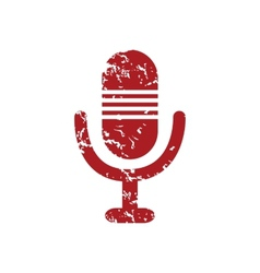 Red grunge microphone logo vector image