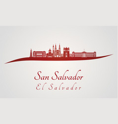 San salvador skyline in red vector