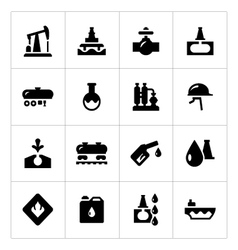 Set icons of oil industry vector image