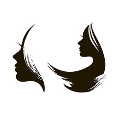 Silhouette of womans head with waving hair vector
