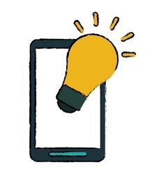 Smartphone bulb idea imagination sketch vector