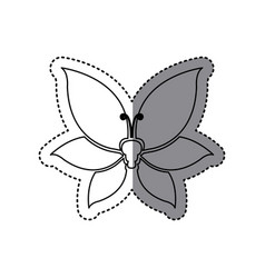 Sticker shading silhouette butterfly insect icon vector