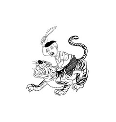 Tiger thai traditional tattoo vector