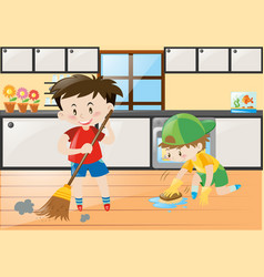 two boys cleaning the kitchen at home vector image
