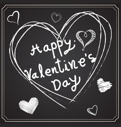 Valentine day drawing on the blackboard vector