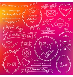 valentine set red vector image vector image
