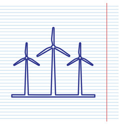 Wind turbines sign navy line icon on vector