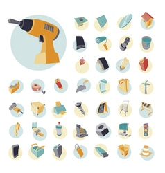 icons vintage set for industrial vector image