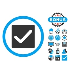 Check flat icon with bonus vector