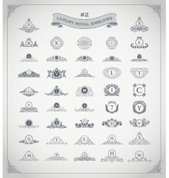 Luxury royal logo set crest emblem heraldic vector