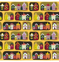 Cute seamless pattern with road and cartoon houses vector image