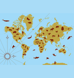 World contour map with animals vector