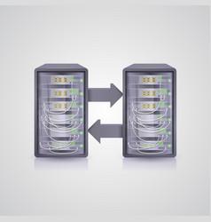 data transmission through the server vector image