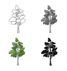 birch tree icon in cartoon style isolated on white vector image