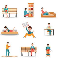 Reading people flat character set with books vector