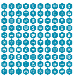 100 network icons sapphirine violet vector image