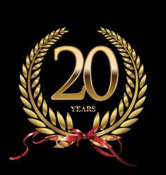 20 years anniversary laurel wreath vector image vector image