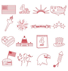 American independence day celebration outline vector