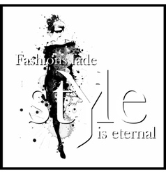 Fashion quote with modern girl in a dress vector