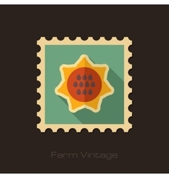 Sunflower retro flat stamp with long shadow vector