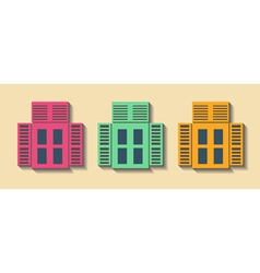 Big set city generator house constructor windows vector