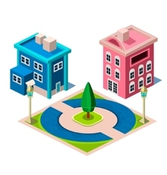 House and park building icon vector