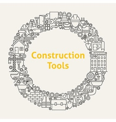 Construction Tools Line Art Icons Set Circle vector image