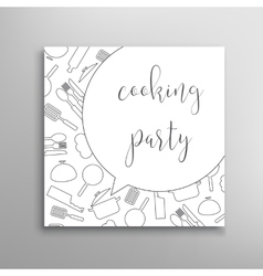 Cooking party invitation culinary school vector