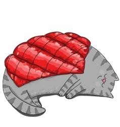 Big sleeping cat under red blanket vector