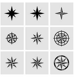 black wind rose icon set vector image vector image
