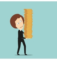 Business woman with stack of coins in hands vector image vector image