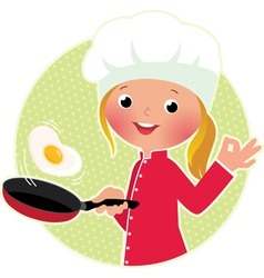 Chef flipping an fried eggs or a omelette vector image
