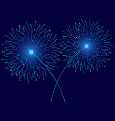 christmas fireworks blue isolated greeting card vector image vector image
