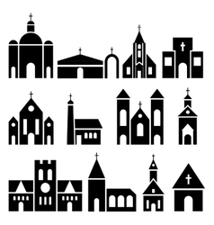 Church building icons basilica and chapel vector image vector image