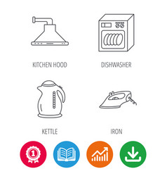 dishwasher kettle and kitchen hood icons vector image