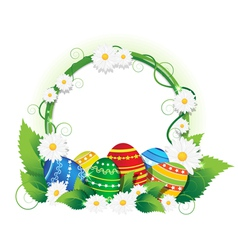 Easter eggs with lush foliage and daisies vector
