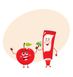 Funny toothpaste and red apple character dental vector
