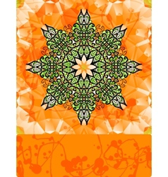 Green stylized flower over bright orange vector image vector image