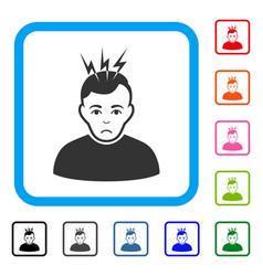 Headache framed sad icon vector