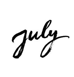 july brush lettering vector image