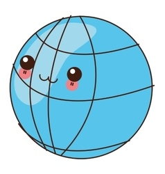 kawaii earth globe diagram icon vector image