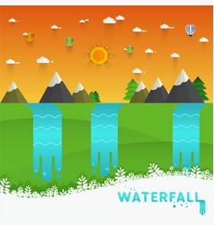 Landscape mountain river waterfall vector